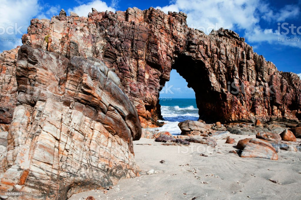Famous rock of Pedra Furada, Jericoacoara, Brazil stock photo