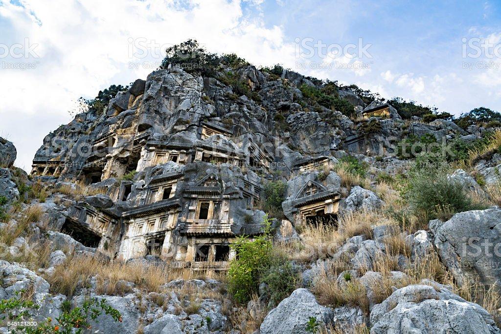 Famous rock-cut Lycian tombs in Myra (Demre), Turkey stock photo