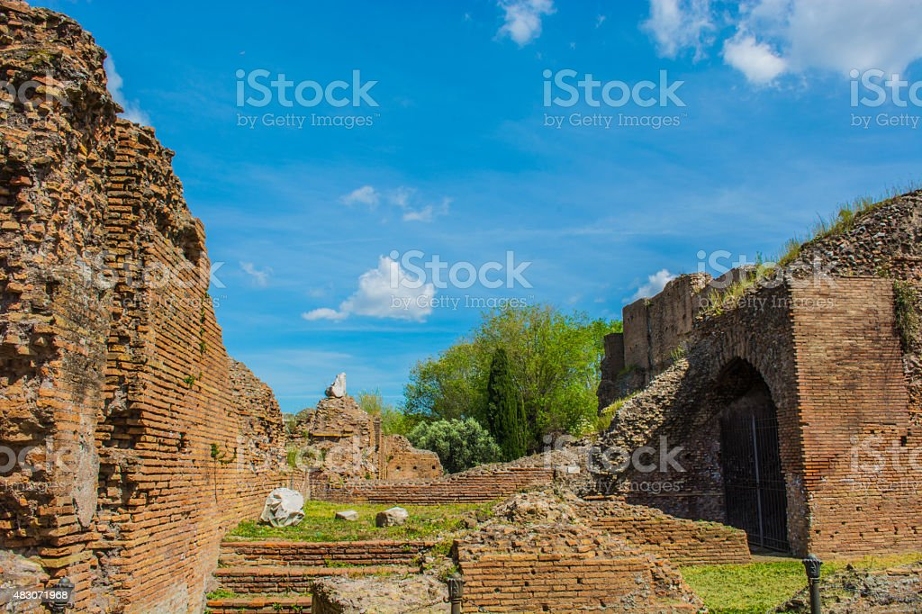 Famous Roman Forum ruins in Rome, Italy stock photo