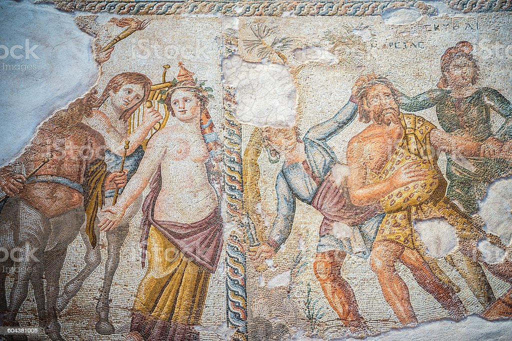 Famous roman Paphos Mosaics, Cyprus stock photo