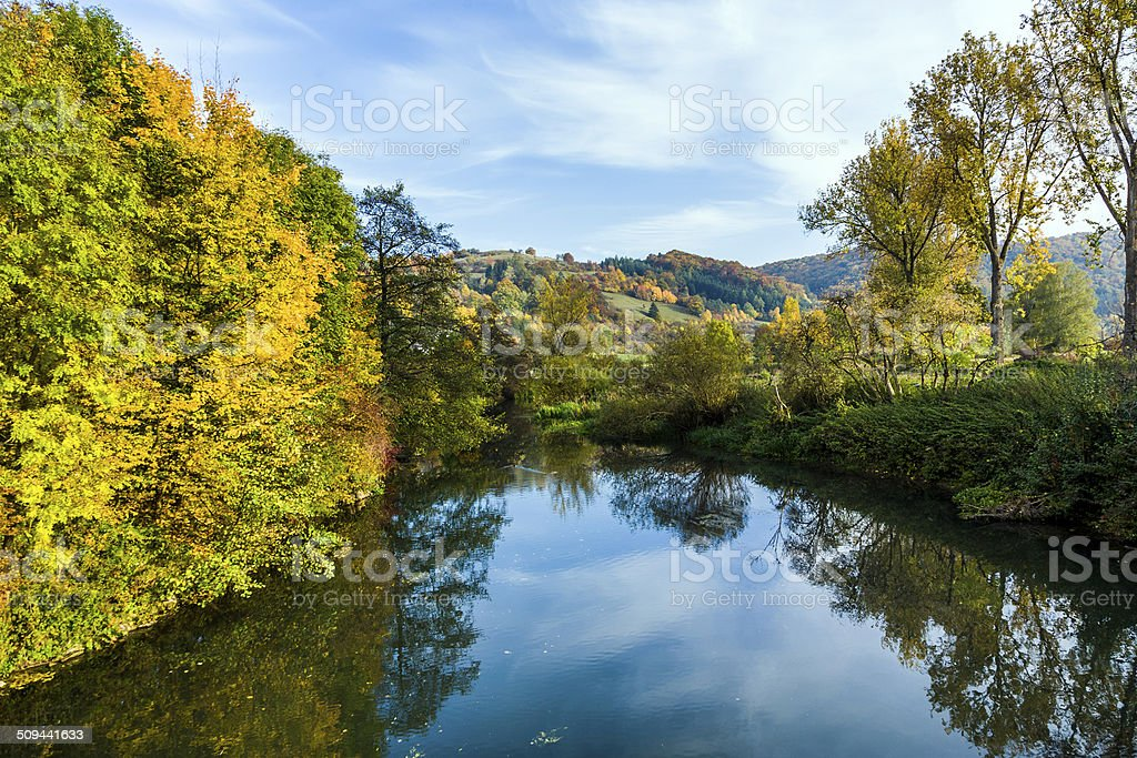 famous romantic Altmuehl valley with river stock photo