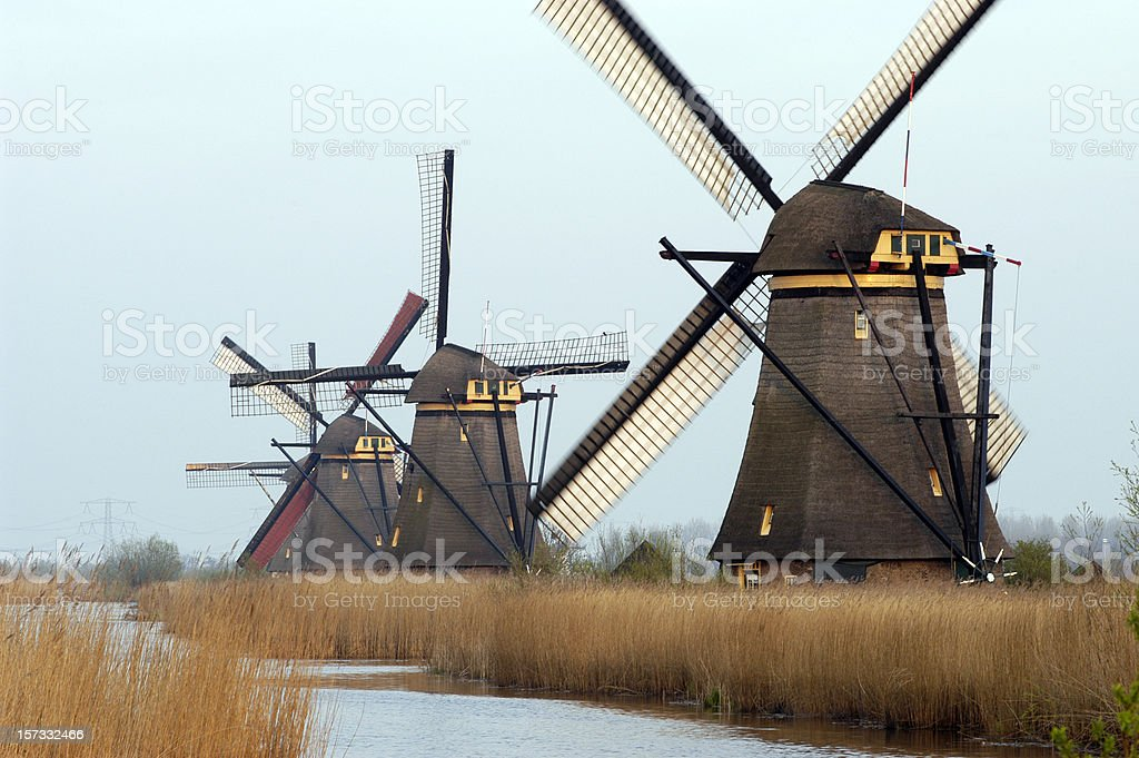 famous row of Dutch windmills royalty-free stock photo