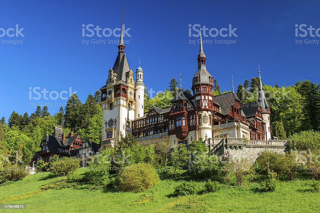 Famous royal Peles castle,Sinaia,Romania stock photo