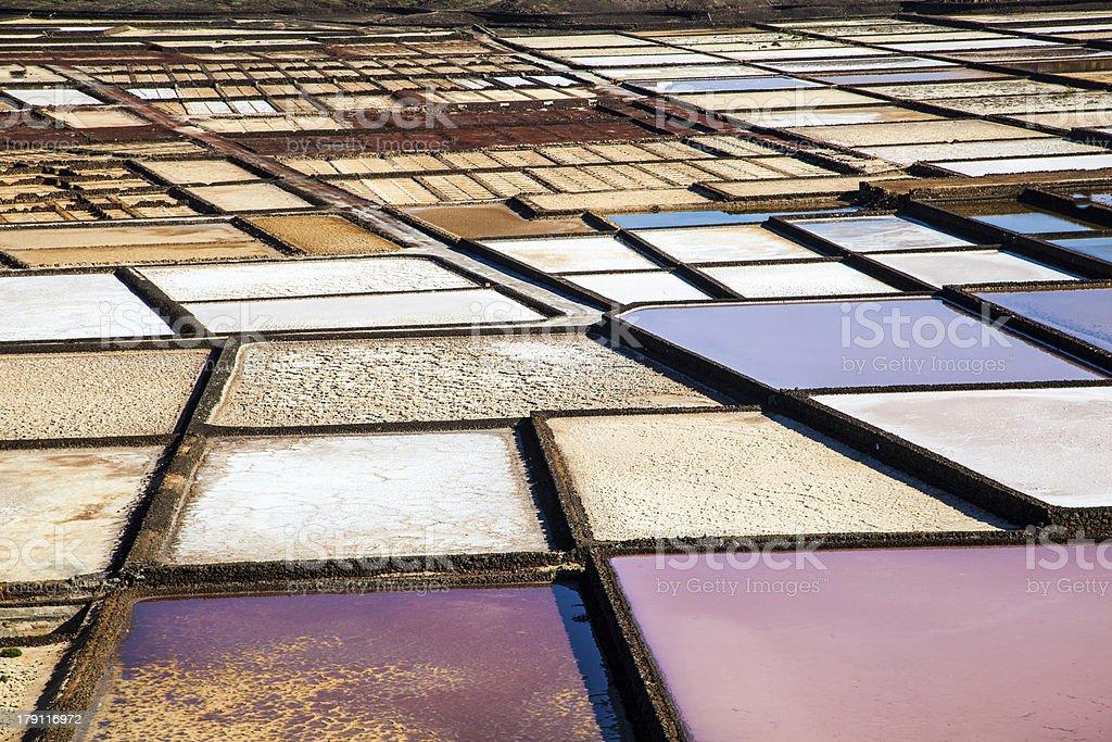 famous salinas de Janubio in Lanzarote, Canary islands, Spain royalty-free stock photo