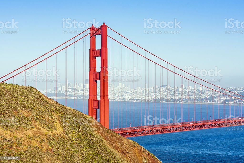 famous San Francisco Golden Gate bridge in late afternoon light royalty-free stock photo