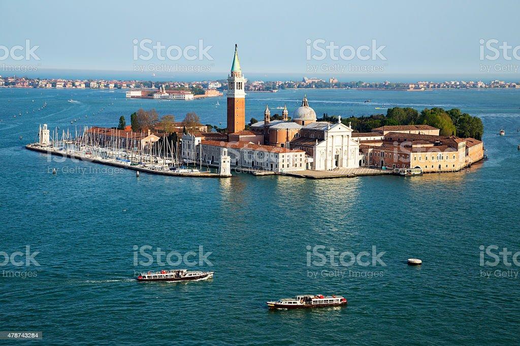 Famous San Giorgio Maggiore island near San Marco, Venice, Italy stock photo