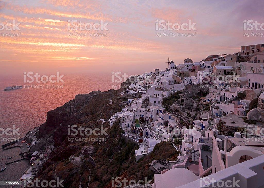 Famous Santorini sundown stock photo