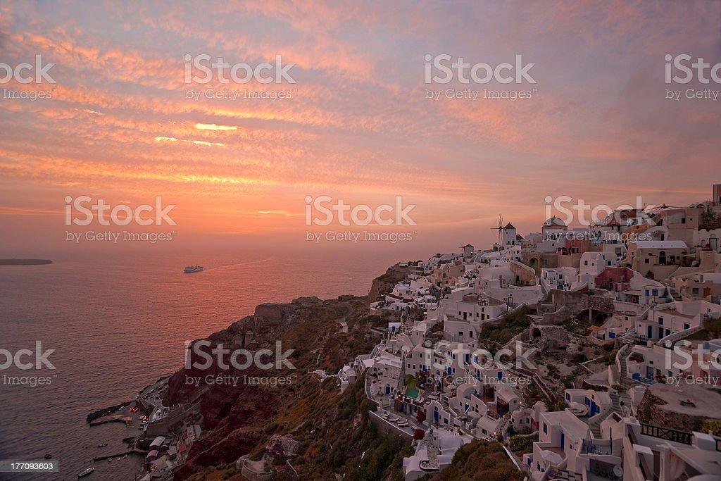 Famous Santorini sunset stock photo