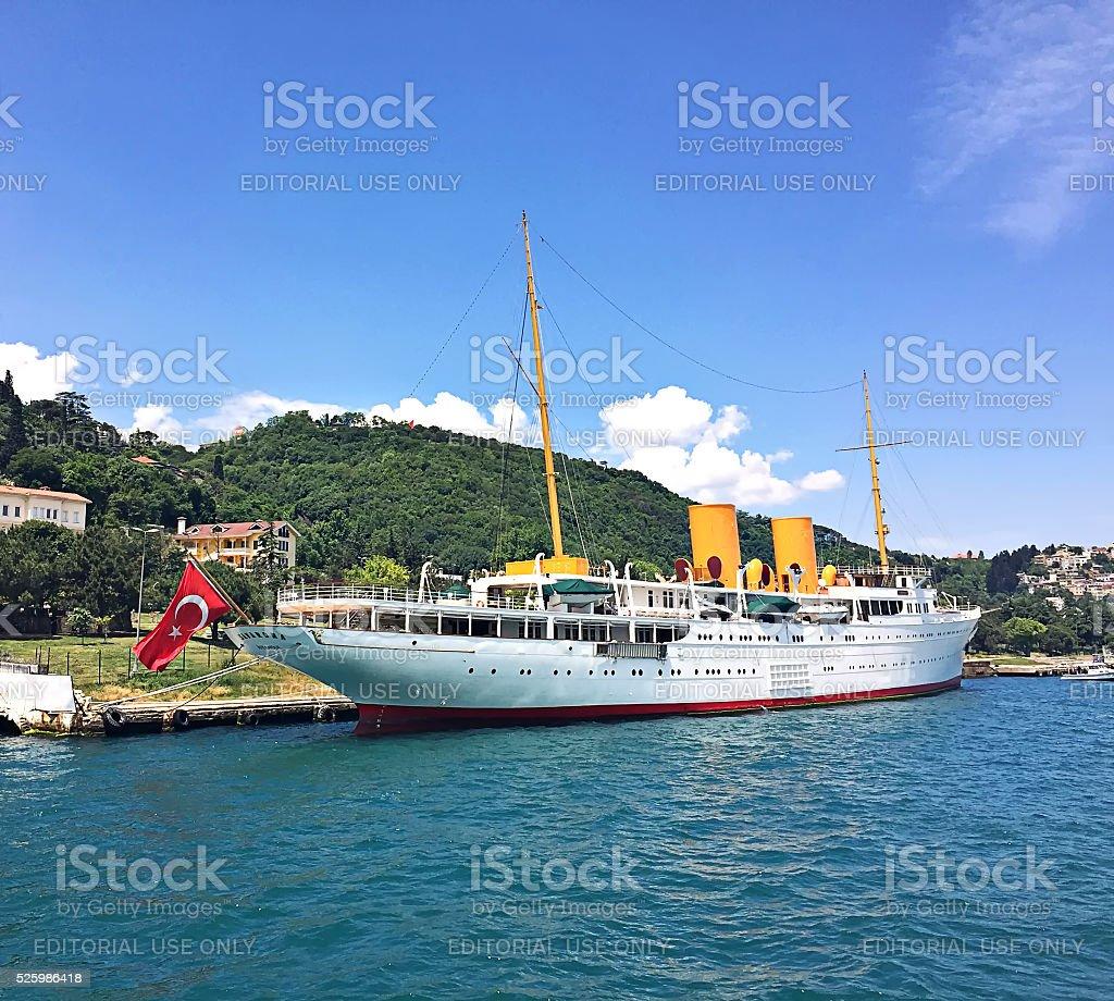 Famous Savarona yacht that the Founder of Turkish Republic used stock photo