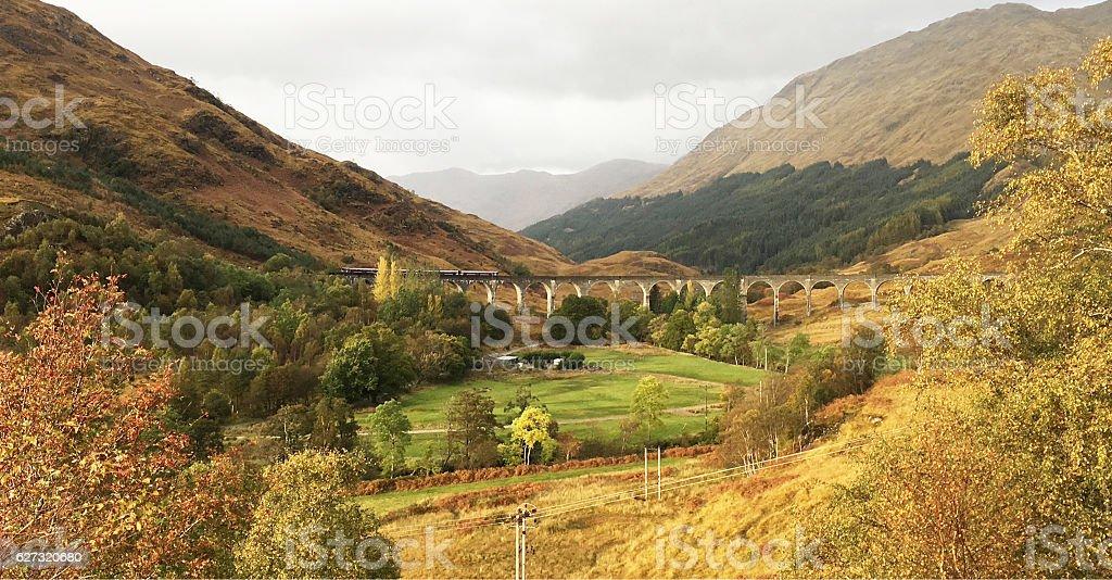 Famous Scene in Glenfinnan Viaduct stock photo