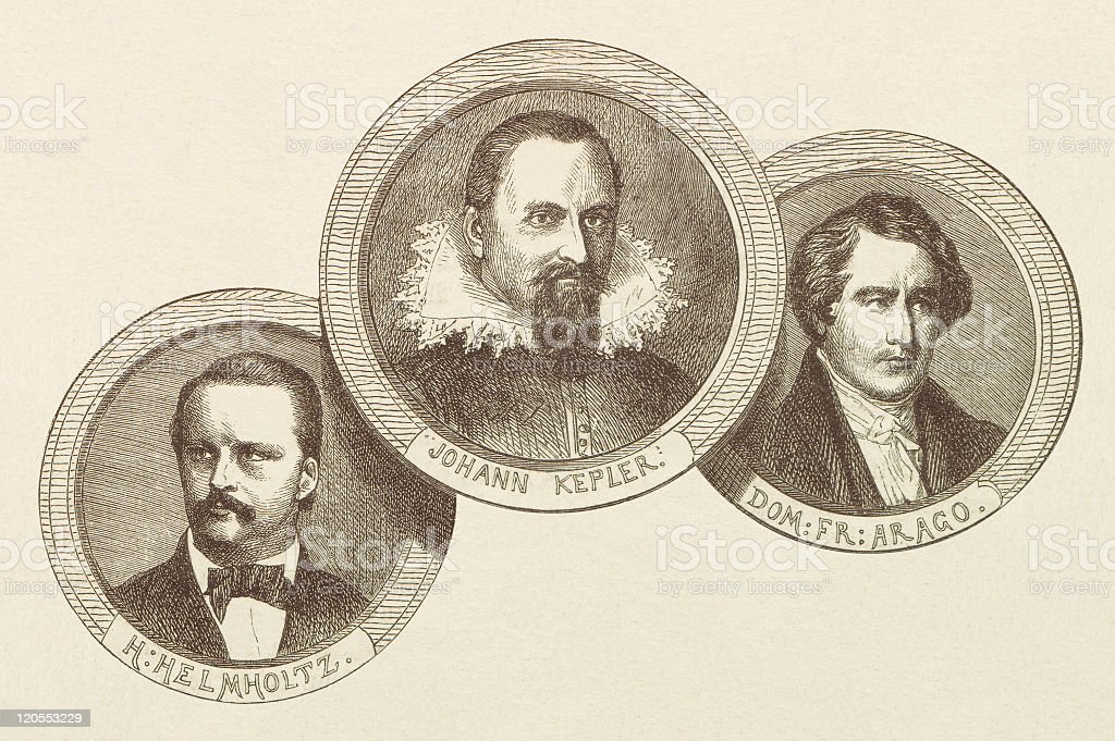 Famous Scientists, published in 1877 stock photo