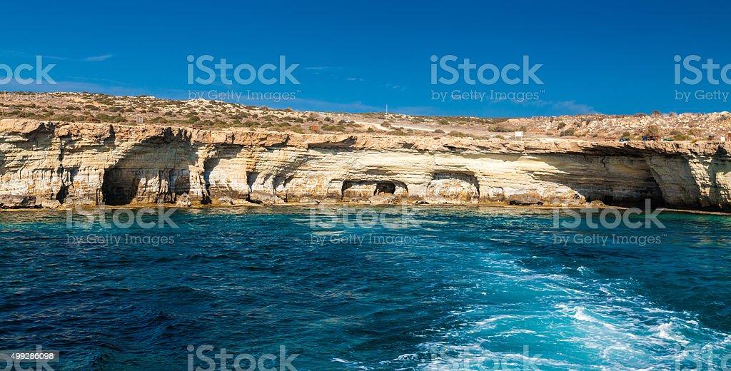 famous sea caves near Ayia Napa stock photo