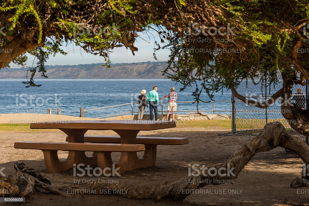 Famous sea lion cove with people standing by picnic area stock photo