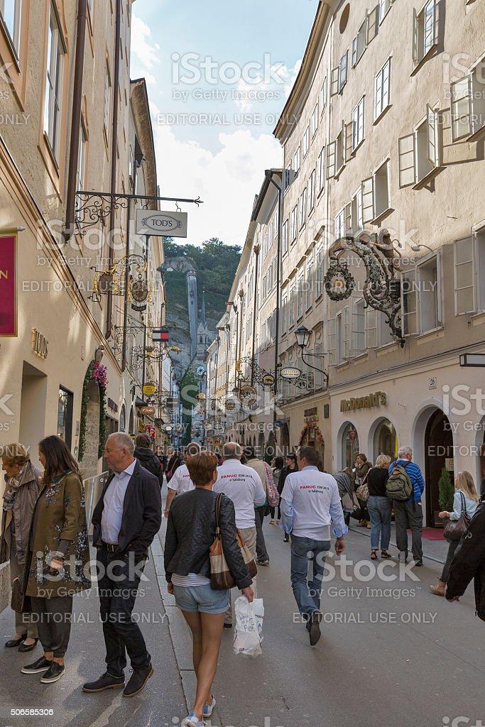 Famous shopping street Getreidegassen in Salzburg, Austria. stock photo