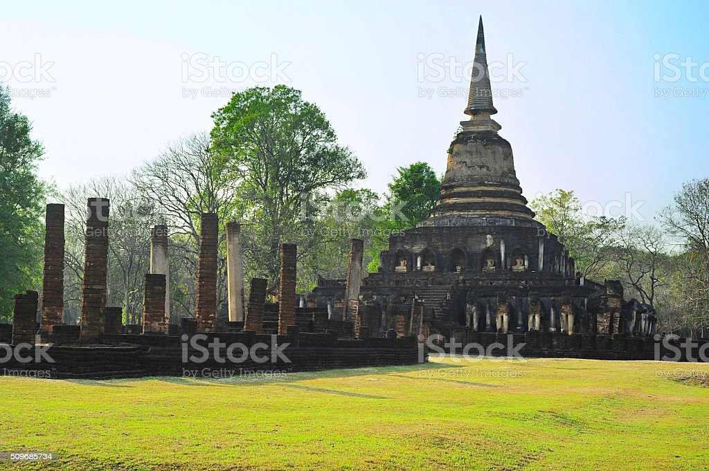 Famous Si Satchanalai historical park stock photo