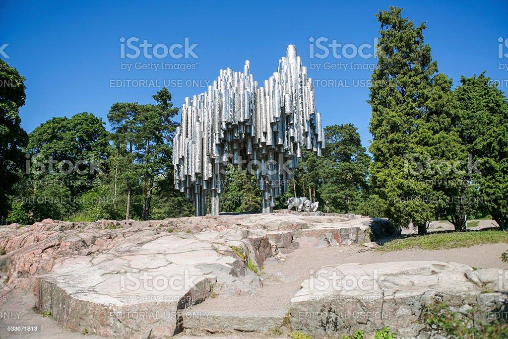 famous sibelius monument at helsinki finland stock photo