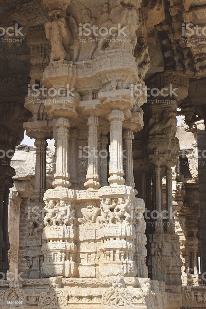 Famous 'singing' column in the Vittal temple at Hampi royalty-free stock photo