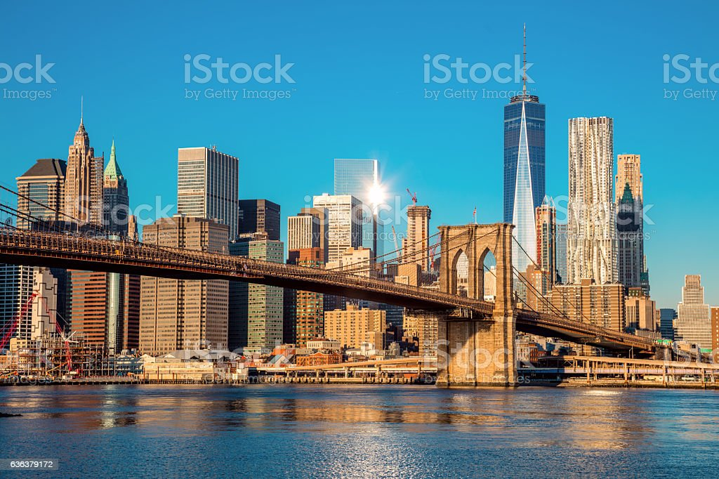 Famous Skyline of downtown New York City at early morning stock photo