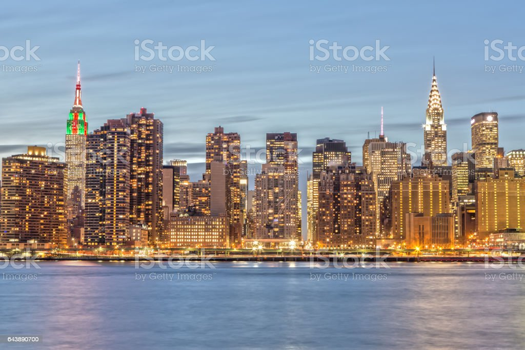 Famous Skyline of New York at Night stock photo