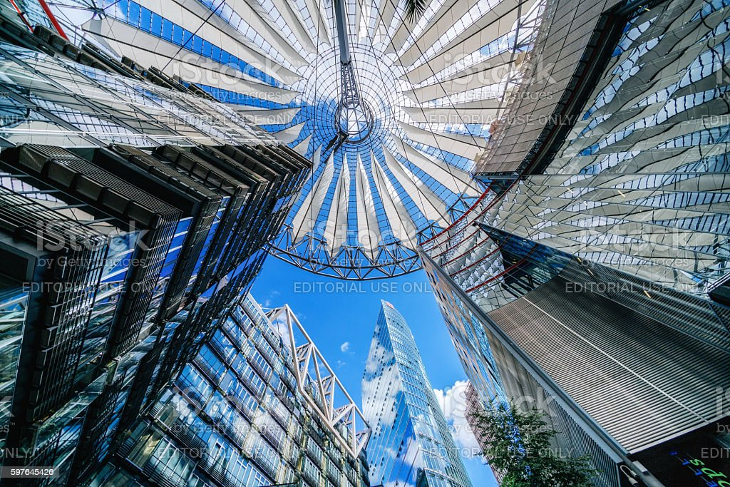 Famous Sony Center at Potsdamer Platz, Berlin, Germany stock photo