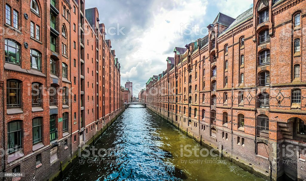 Famous Speicherstadt warehouse district in Hamburg, Germany stock photo