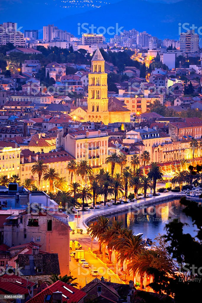 Famous Split waterfront evening aerial view stock photo