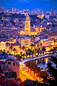 Famous Split waterfront evening aerial view