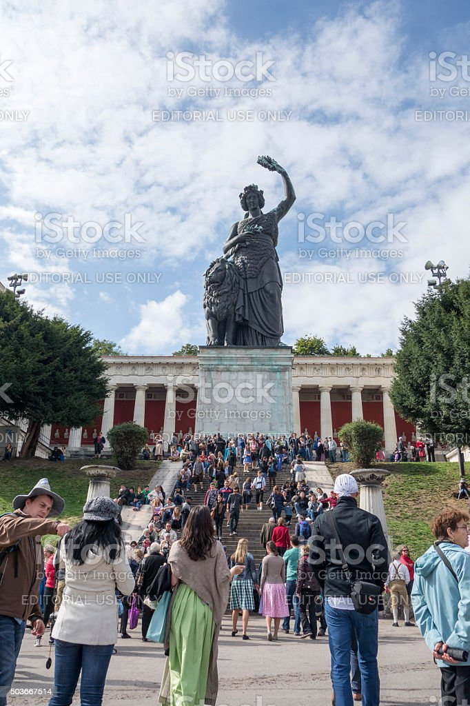 famous statue of bavaria stock photo