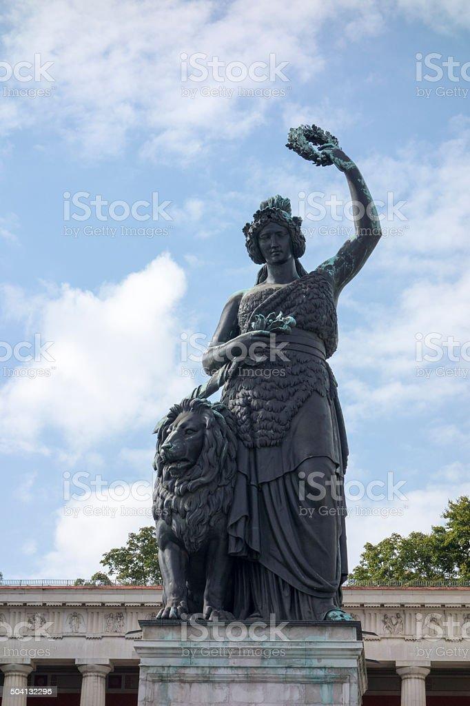 famous statue of bavaria stock photo