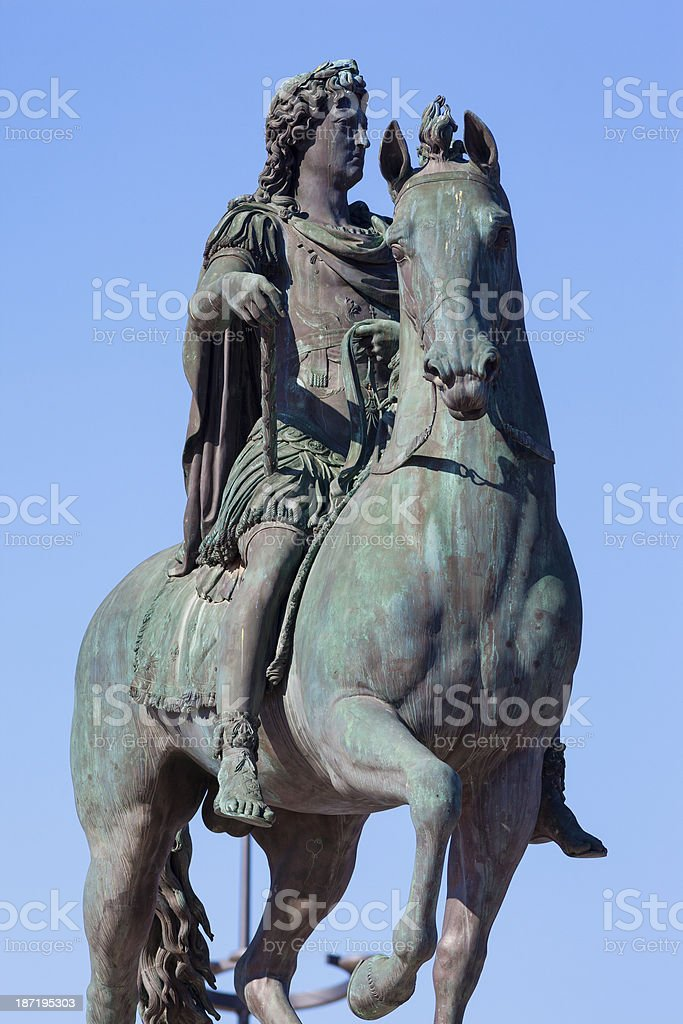 Famous statue of Louis XIV in Lyon stock photo