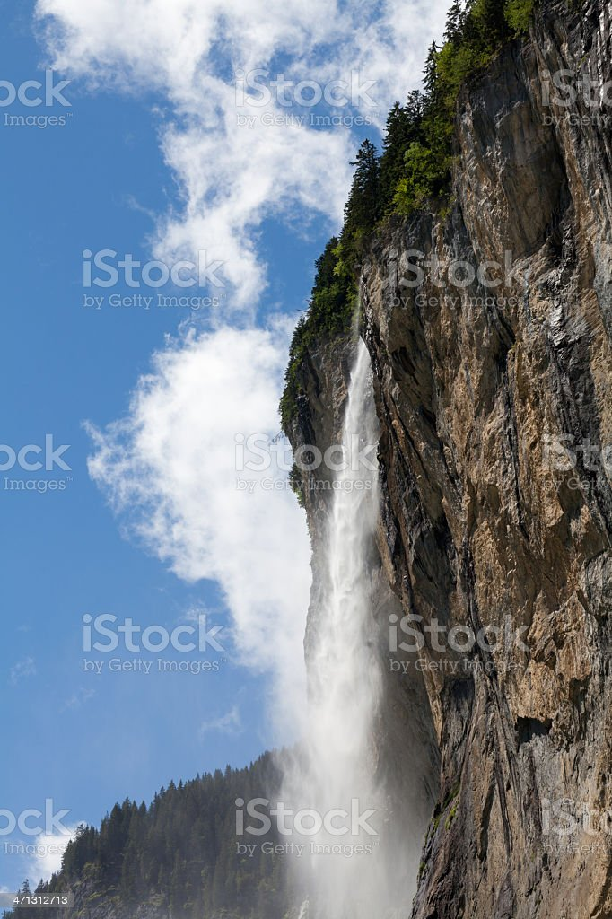 Famous Staubbach Falls, Lauterbrunnen, Jungfrau Region, Switzerland royalty-free stock photo