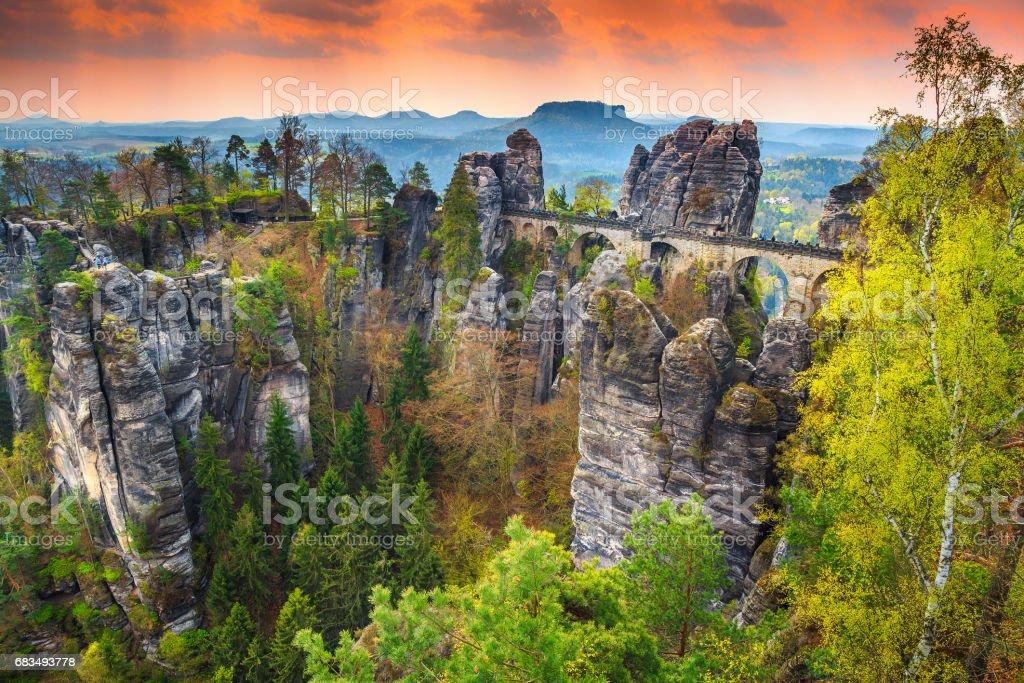 Famous stone bridge named Bastei in Germany, Saxon Switzerland, Europe stock photo