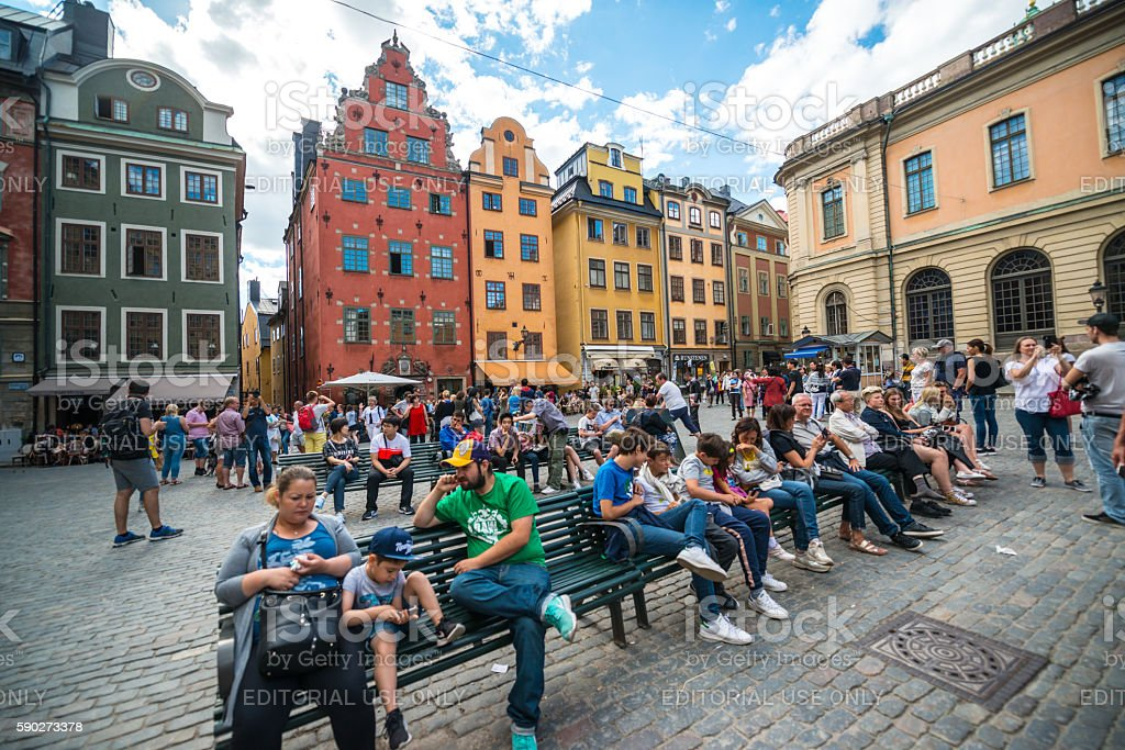 Famous Stortorget Square with tourists, Stockholm, Sweden stock photo
