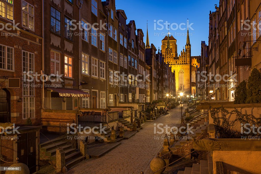Famous street at night stock photo