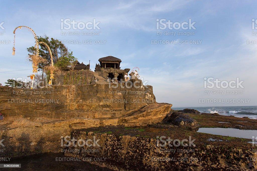 famous Tanah Lot Temple on Sea in Bali Island Indonesia stock photo