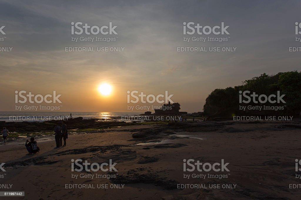 famous Tanah Lot Temple on Sea in Bali Island stock photo