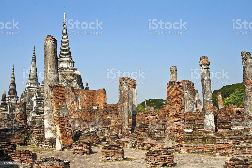 famous temple area Wat Phra Si Sanphet royalty-free stock photo