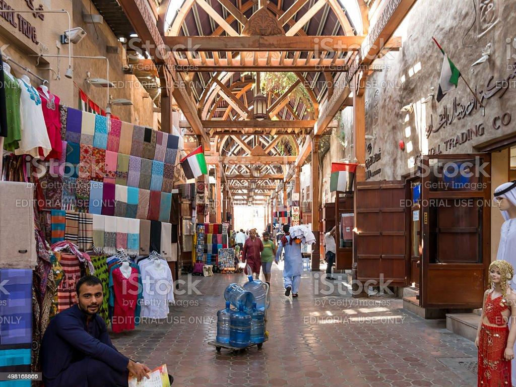 Famous textile souk in Bur Dubai stock photo