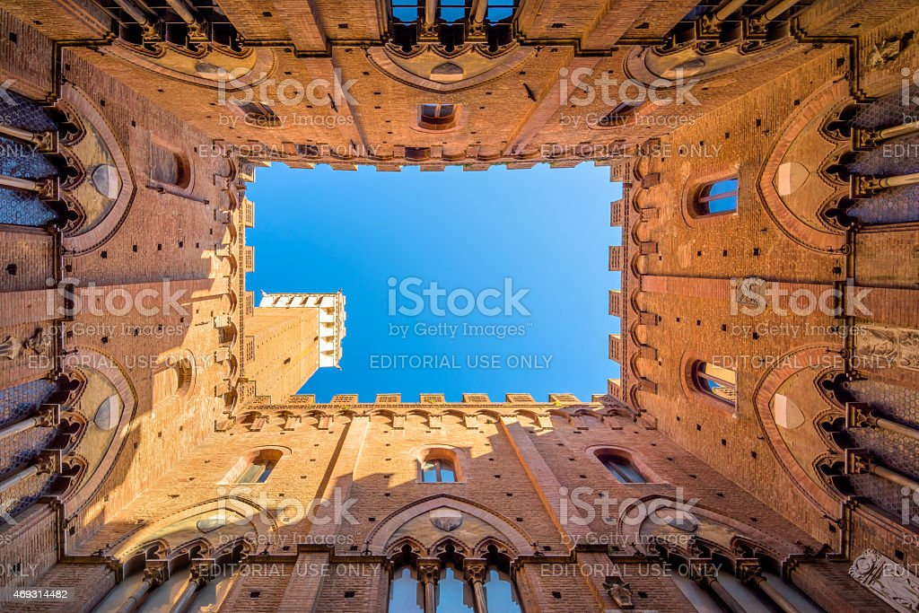 famous Torre del Mangia in Siena, Italy stock photo