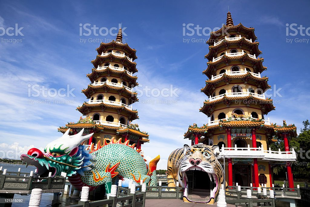 Famous Tower of dragon and tiger stock photo