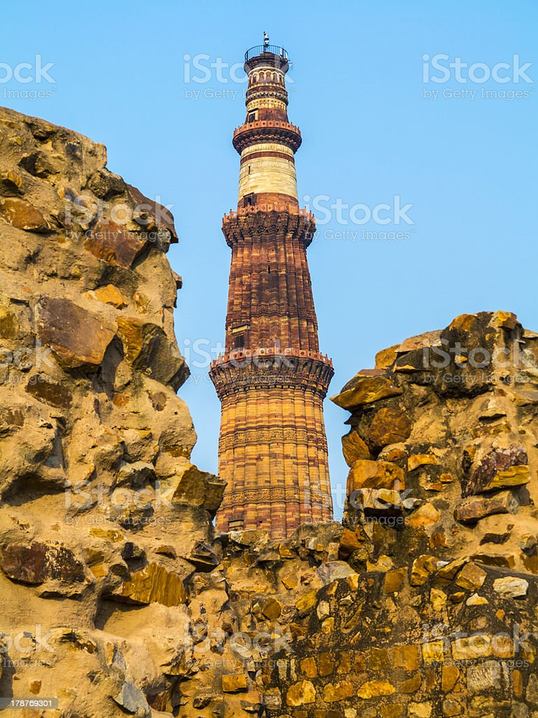 famous tower of Qutb Minar in Delhi, India royalty-free stock photo