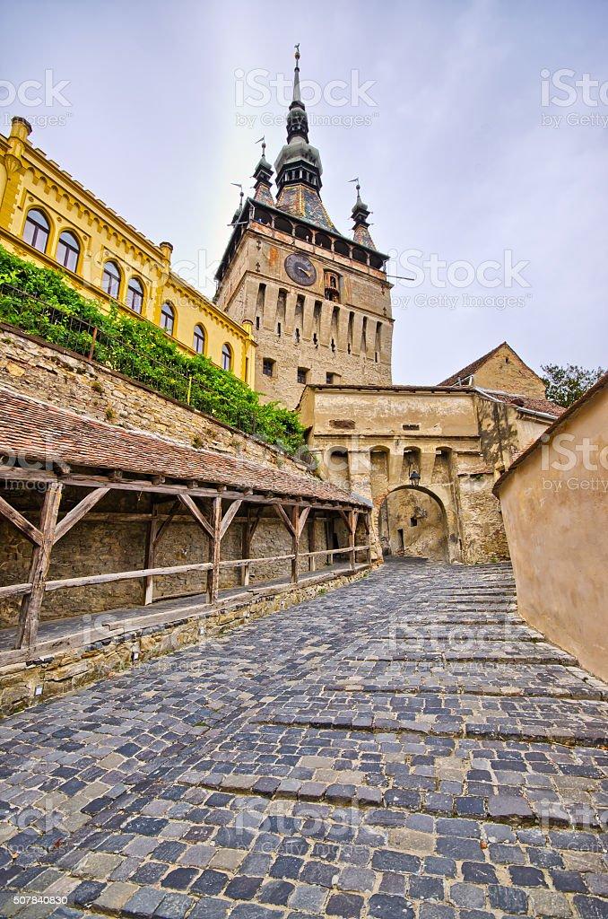 Famous tower of Sighisoara, Romania stock photo