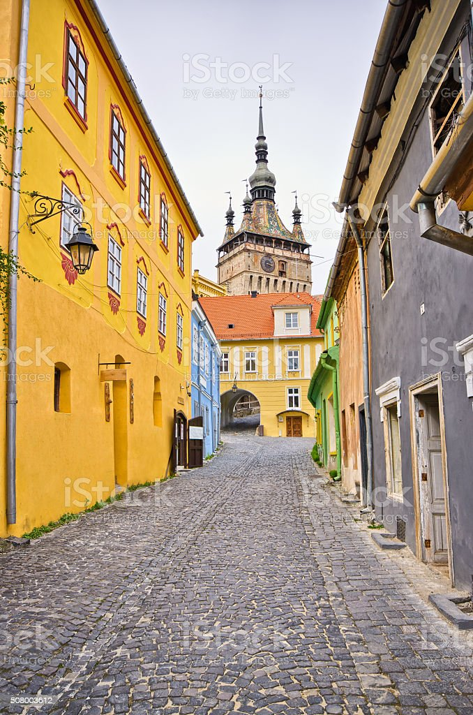 Famous tower of Sighisoara, Romania stock photo