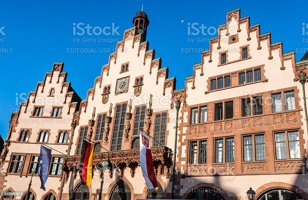 famous town hall at the central place in Frankfurt stock photo