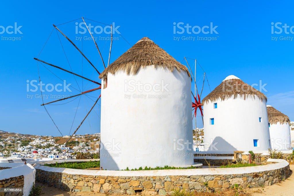 Famous traditional windmills on Mykonos island, Cyclades, Greece stock photo