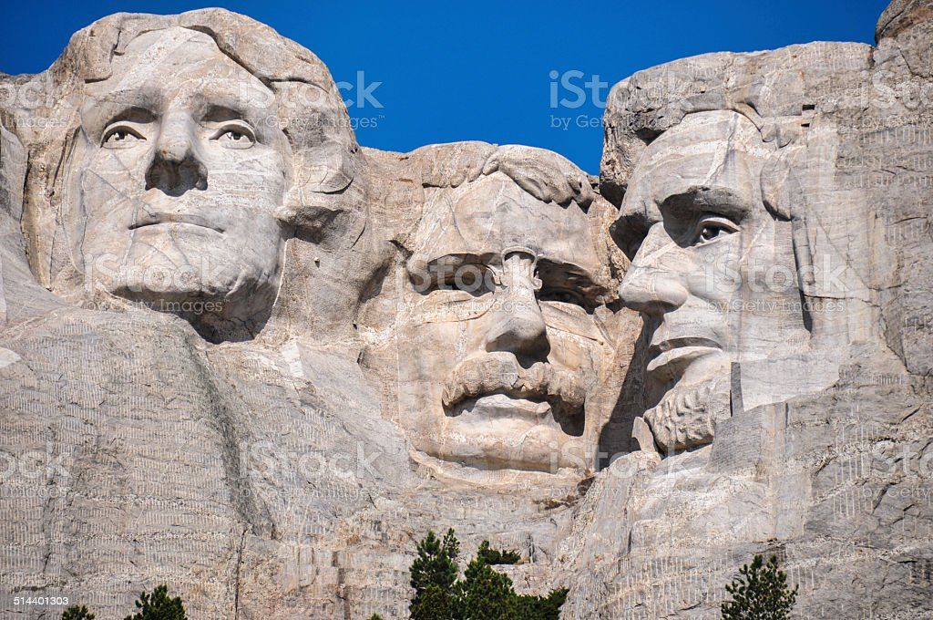 Famous US Presidents on Mount Rushmore National Monument, South stock photo