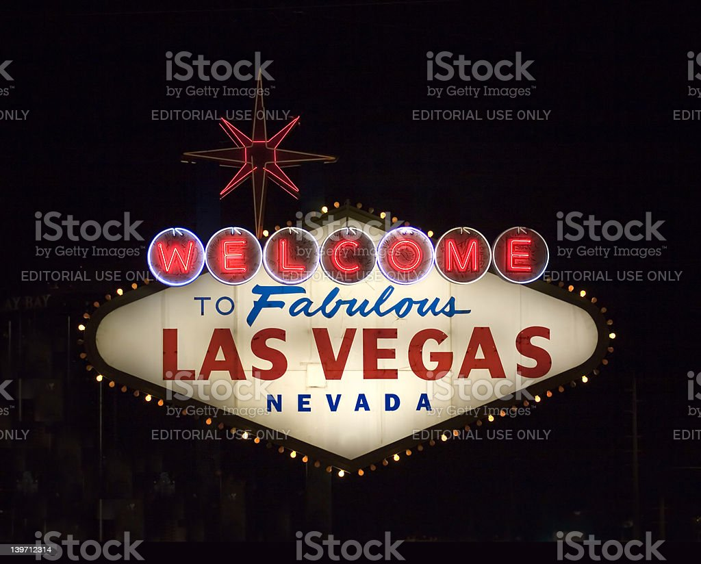 famous vegas sign at night royalty-free stock photo
