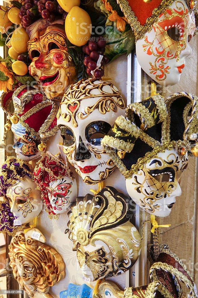Famous Venetian masks - carnival in Venice Mardi Gras Lizenzfreies stock-foto