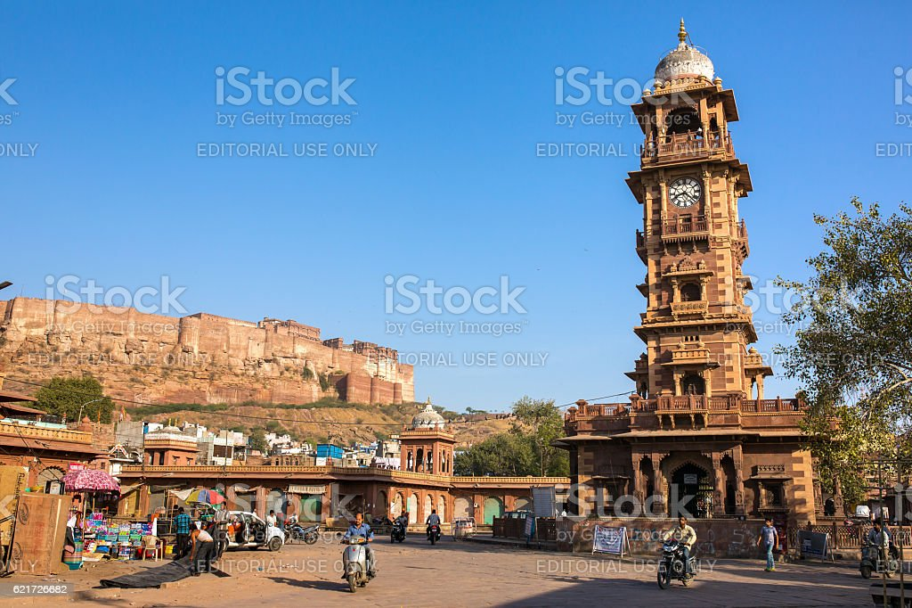 Famous victorian Clock Tower in Jodhpur, India stock photo