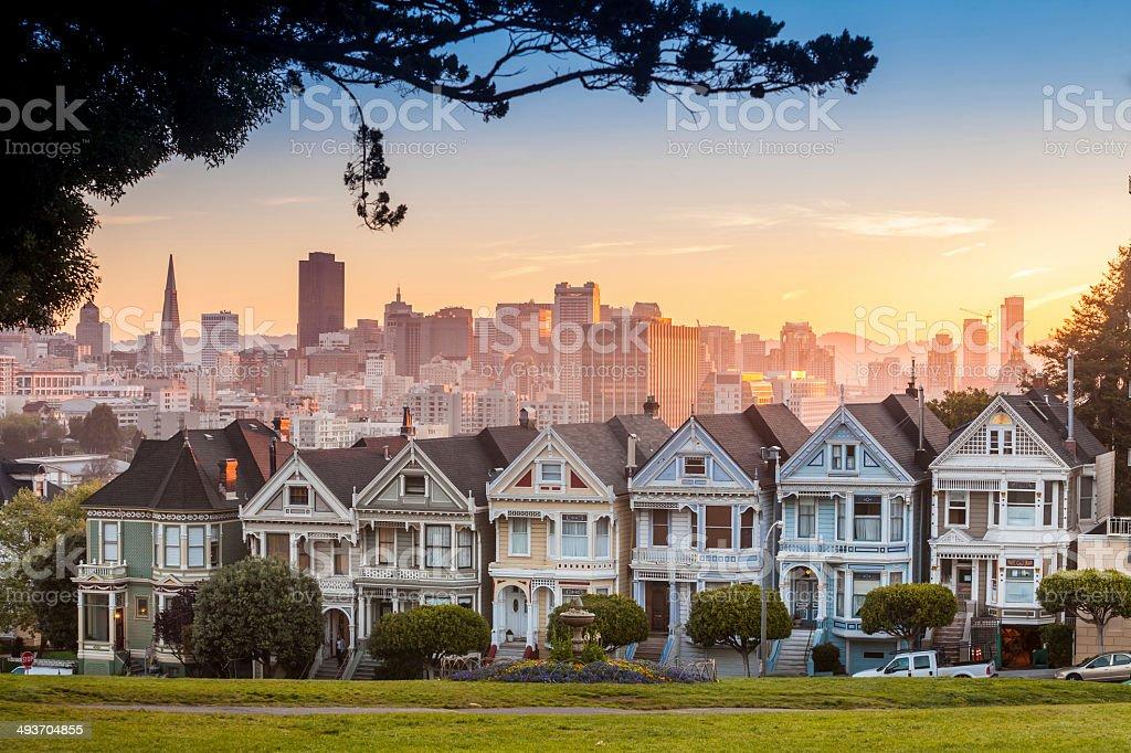 Famous view of San Francisco at Alamo Square stock photo